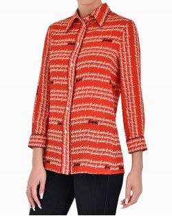 Camisa Gucci de Seda Estampada com fundo Vermelho