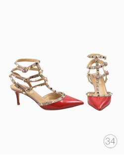 Sapato Valentino Rockstud Vermelho de Verniz