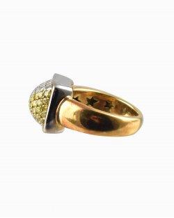 Anel H.Stern em Ouro Branco e Amarelo com Diamantes