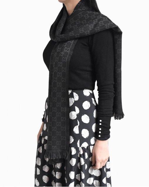 Cachecol Gucci lã preto