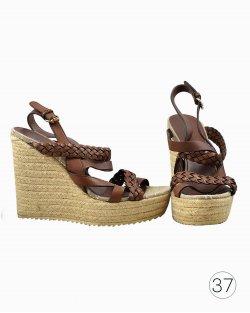 Sandália Gucci plataforma marrom