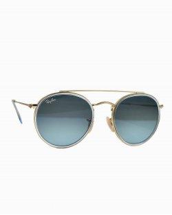 óculos de sol Ray Ban round double bridge azul RB 3647-N