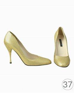 Sapato Sergio Rossi Dourado com Brilhantes