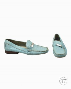 Mocassim Ralph Lauren de Couro Azul Claro