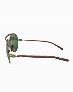 Óculos Ermenegildo Zegna SZ3016 de Couro Marrom