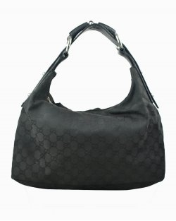 Bolsa Gucci Hobo monograma preta