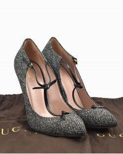 Sapato Gucci alpacata preto e branca