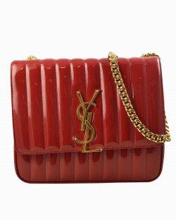 Bolsa Saint Laurent  Vicky Chain de Verniz Vermelha