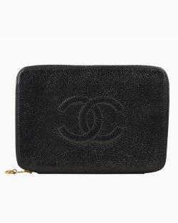 Clutch Chanel couro preta
