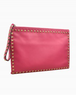 Clucth Valentino Rockstud Oversized de Couro Rosa