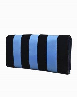 Clutch DVF striped azul e preta