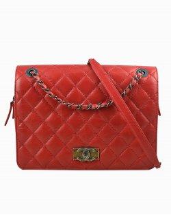 Bolsa Chanel Day Trip Média de Couro Vermelho