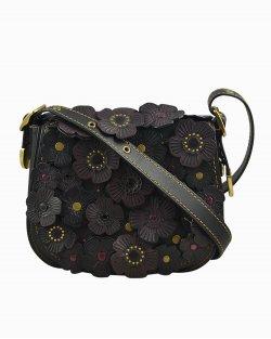 Bolsa Coach flores em couro preta