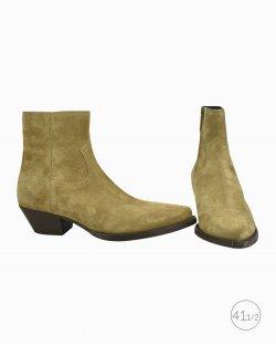 Bota Saint Laurent ankle boot camurça bege