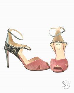 Sandália Fendi veludo rosa