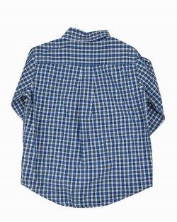 Camisa Infantil Janie and Jack Quadriculada com Fundo Azul
