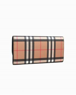Carteira Burberry one flap com xadrez vintage