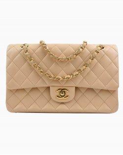 Bolsa Chanel Double Flap Média de Couro Bege