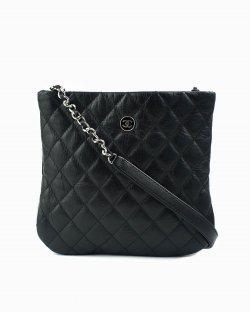 Bolsa Chanel Pochette D'appoint de Couro Preto