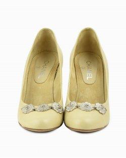 Sapato Chanel Camelia cork wedges heels bege