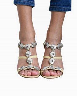 Sandália Chanel camelia Cork Wedges heels bege