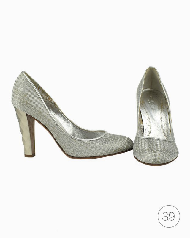 Sapato Sergio Rossi Texturado Prateado