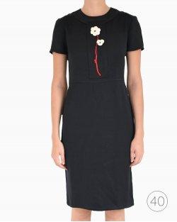 Vestido Prada seda flor preto