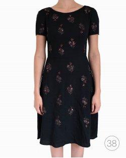 Vestido Prada preto com flores em paete
