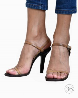 Sandália Gucci madeira e couro bege
