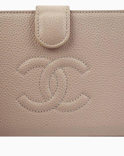 Carteira Chanel CC French em Couro Rosé