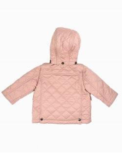 Jaqueta Burberry infantil matelassê com capuz rosa