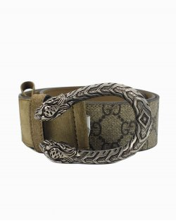 Cinto Gucci Dionysus jacquard bege