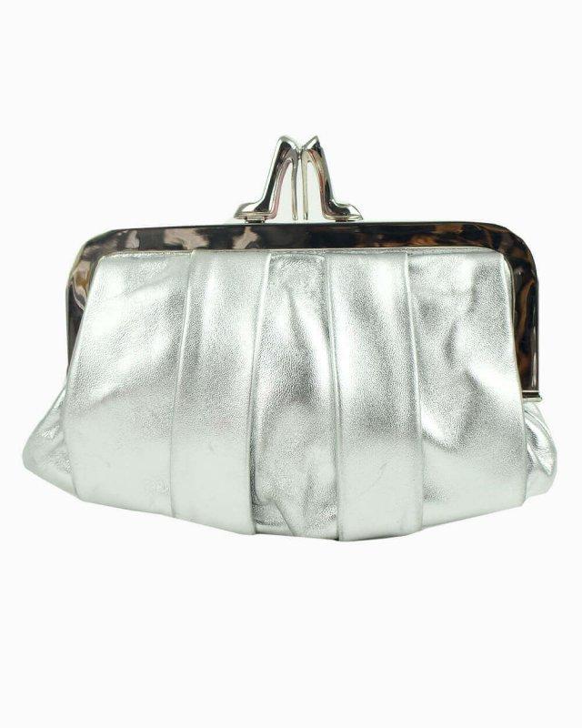 Clutch Louboutin couro prata