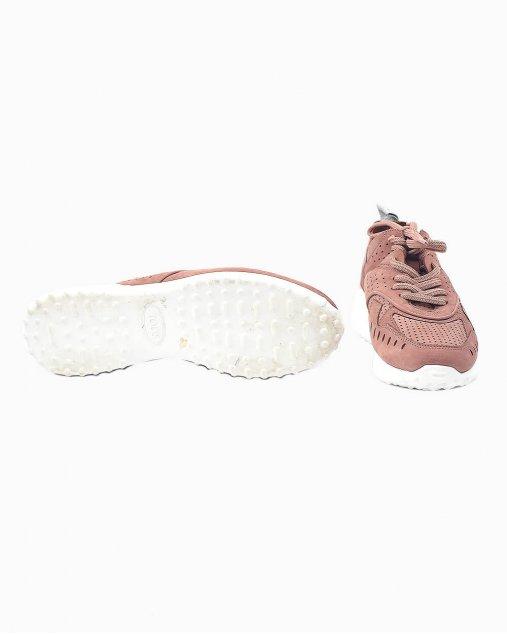 Tênis Tods com perfurações e cadarço em rosa