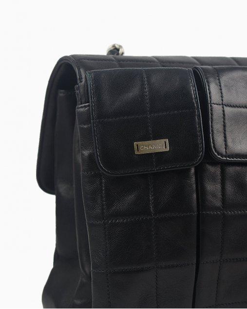 Bolsa Chanel 2.55 de Couro Preto Vintage