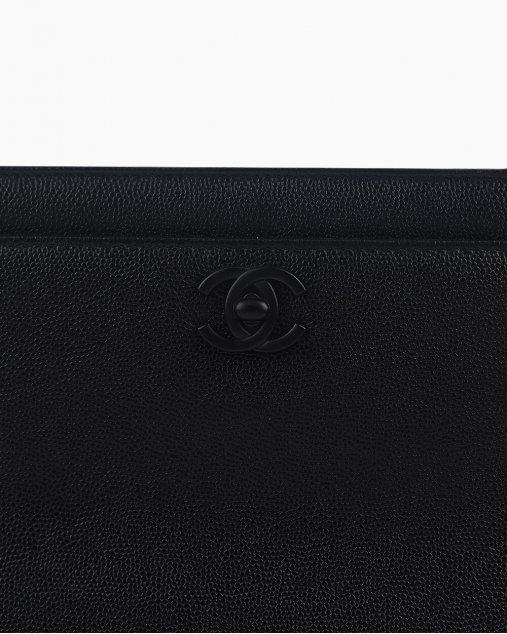 Bolsa Chanel Tote de Couro Preto Vintage