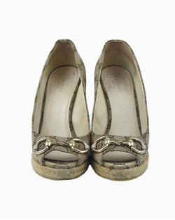 Sapato Gucci anabela monograma