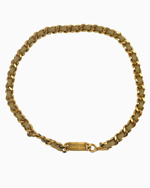 Cinto Chanel Goldtone chain and leather bege