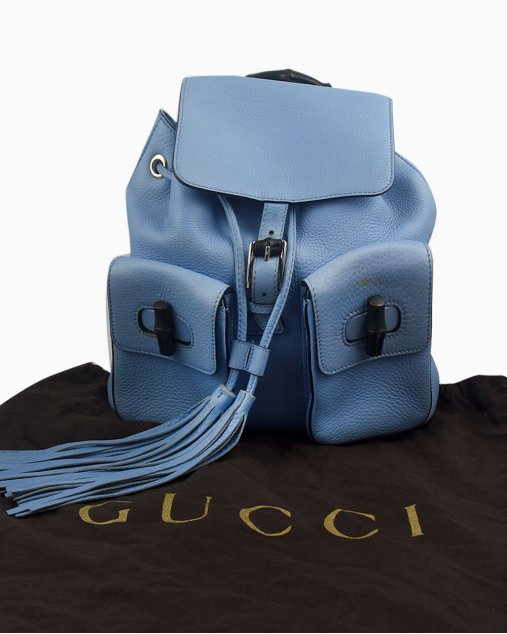 Mochila Gucci Bamboo couro azul