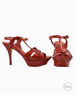 Sapato Saint Laurent Tribute verniz vermelho