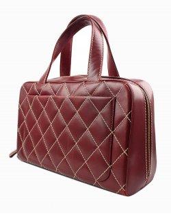 Bolsa Chanel Surpique Bowler couro vermelho