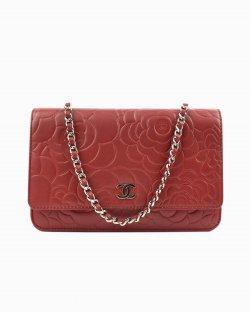 Bolsa Chanel WOC Camelia em couro vermelho