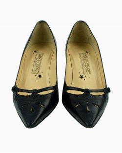 Sapato Jimmy Choo vintage vazado em couro preto