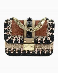Bolsa Valentino Glam Lock aplicação de miçangas