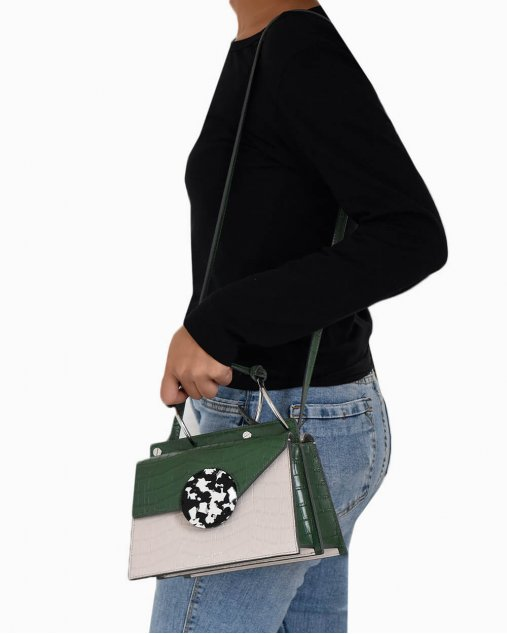 Bolsa Danse Lente Phoebe mini efeito croco verde