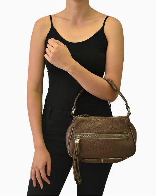 Bolsa Chanel Marrom Escuro Pequena