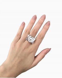 Conjunto Anéis Guerreiro Coração Prata