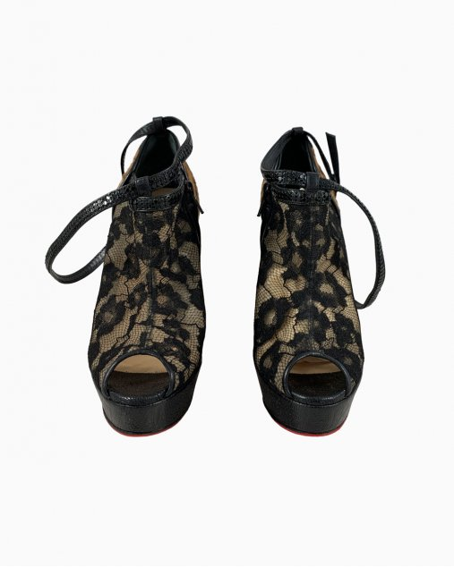 Ankle Boot Christian Louboutin Renda e Animal Print