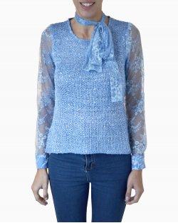 Blusa Carol Bassi Azul Laço