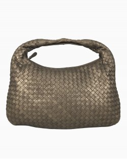Bolsa Bottega Veneta Hobo Intrecciato Marrom Metalizada